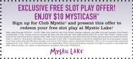 EXCLUSIVE FREE SLOT PLAY OFFER! ENJOY $10 MYSTICASH®